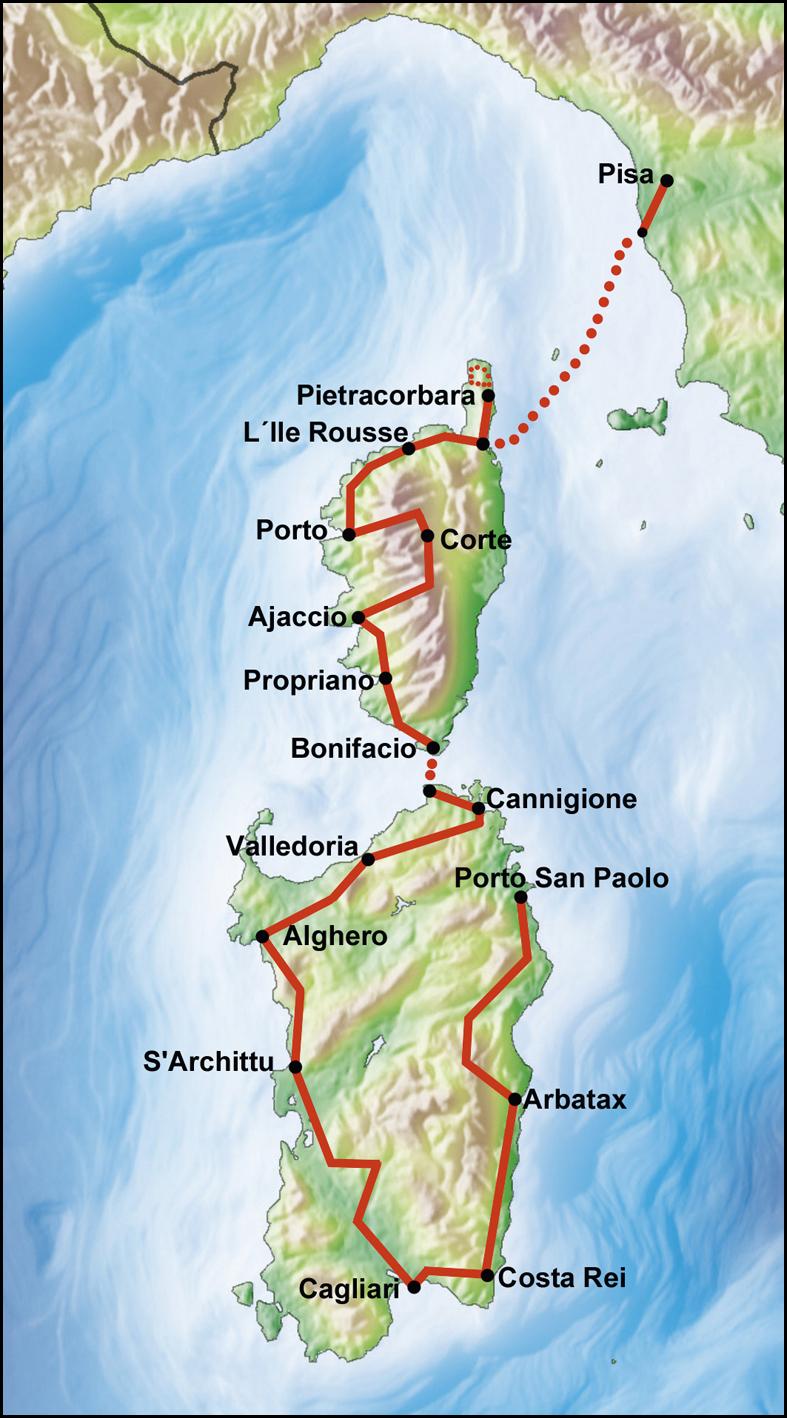 Route 73 Korsika Sardinia Mir Tours Services GmbH